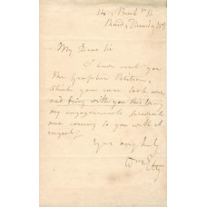 AUTOGRAPH LETTER Signed, to T. Phillips, 1p, 14 Buckingham St, Strand, Thursday, n.y.