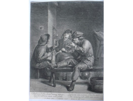 "Inn Interior with Three Peasants Drinking and Smoking, one with leg on bench, verse below commecing ""Tabificum frustra clamas, damnasq tabacum . . ."" by Jonas Suyderhoef [d.1686]."