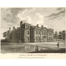 View of  the Country House, Hill Hall, the Seat of Sir W. Smyth, after Sandby by W. Watts. Shows figures by pond.