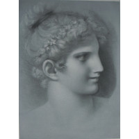 Woman's head to right, her hair in a bun with a garland of flowers, ?by Georges Bellenger or Bellanger [1847-1918].