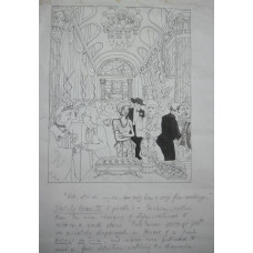 """Wedding Reception in stately home. Woman by drinks table says to companion, """"Well, after all, my dear, one only has a very few weddings."""" Stately Home II (private) - Fashion, rather than the mere changing of styles, continued to exist in a world"""