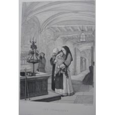 'Les Catholiques'. Nuns, on holding child, standing before candelabra after Baron Henri Leys [1815-1869]
