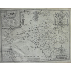 'The Countie of Radnor Described abd the Shyretownes Sittuatione' Map of Radnorshire engraved by Jodicus Hondius.