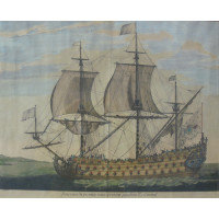 'Vaisseau du Premier rang portant pavillon d'Admiral.'  Ship in profile, near coast. After a design by Henri Sbonski de Passebon [1637-1705].