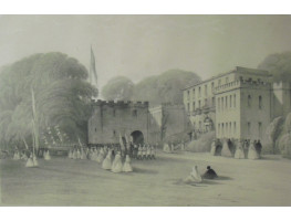 'Torre Abbey The Seat of Robert Shedden Sulyard Cary, Esq  The Day of his Coming of Age'  Figures partying on lawn, showing the house.