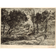 'Souvenir de Toscane'. Landscape with figure, tree and villa.