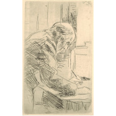 'Le Bonne Graveur'. Man standing at desk with drawing implement in left hand.