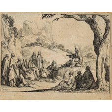Christ seating on rock by tree, preaching to the apostles. Plate four from New Testament series of 10.