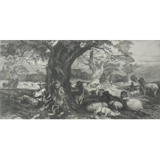'The Park'. Shepherd and dog sitting by tree trunk, with flock of sheep in parkland.