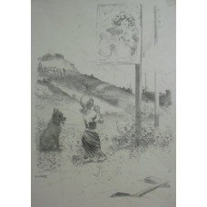 'The Pious Mistake'. Girl kneeling in prayer to poster by Mucha, dog beside her, near railway .