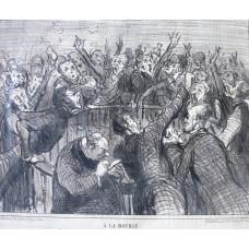 Croquis Parisiens No. 6. 'A la Bourse Ce qu'on appelle une corbeille - pas de fleurs en tour cas'. Men dealing on the Stock Exchange.