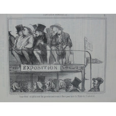 L'Exposition Universelle. No. 31 'Exposition en plein vent des provinciaux venus a Paris pour voir le Palais de l'industrie'. Passengers on open upper floor of omnibus turning to stare.