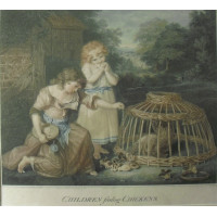 'Children feeding Chickens' Two girls outside cottage feeding chicks the mother hen in basket coop after John Russell [1745-1806].