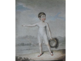 'What's that Mother?' Boy in white dress holding hat pointing with right hand by John Samuel Agar [c.1770-1840] and John Bluck [fl. c. 1791-1832]