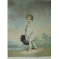 'The Mother's Hope' Boy in white dress holding hat  in landscape by Samuel Freeman [1773-1857] and Joseph Constantine Stadler [1780-1819]
