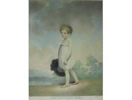 'The Mother's Hope' Boy in white dress holding hat  in landscape by Samuel Freeman [1773-1857] and Joseph Constantine Stadler [1780-1819]