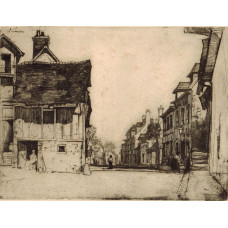 'Norman Village'. Street Scene with figures.