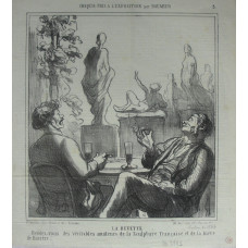 Croquis Pris a L'Exposition No. 5. 'La Buvette Rendez-vous des veritables amateurs de la Sculpture Francaise et de la biere de Baviere' Two men seated at table by sculptures.