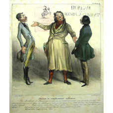 'Bureau de Remplacements Militaires'  Plate 28 from the 'Album Caricaturana'. Robert Macaire organising a substitute to serve in the army.