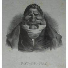 'Pot-de Naz'. Head and shoulders caricature of Baron de Podenas with short-trimmed hair.