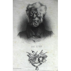 'De L'Or'. Head and shoulders caricature of Baron Delort, with mock coat of arms below