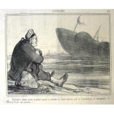 Actualites No.479. 'Passager ayant paye sa place pour se rendre a New-Yorck, sur le Leviathan, et attendant la nise a l'eau du navire !'. Man watches liner being launched.