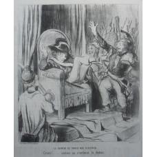 'Le Gamin de Paris Aux Tuilleries, Cristi! . . . comme on s'enfonce la dedans'. Street urchin sinks into armchair.