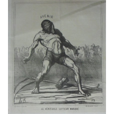 Actualites No.238. 'Le Veritable Lutteur Masque'. Man in mask, scythe and hour-glass on floor.
