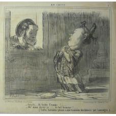 En Chine No. 5. 'Cristi . . . la belle femme! . . . - Oh! mon dieur je . . . le bel homme! (Cette derniere phrase a ete traduite du Chinois par Lassagne)'. Head of European man peering through window at Chinese woman.