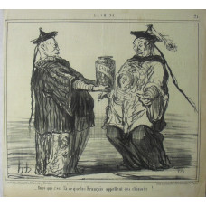 En Chine No. 21. 'Dire que c'est la ce que les Francais appellent des chinois!'. A Chinaman presenting a jar of 'Chinois' sweets to another.
