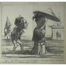 En Chine No. 27. 'Cristi! . . . que malheur que je n'sache pas le chinois . . . j'lui dirais volontiers que' qu' chose d'agreable pour elle et d' desobligeant pour son mari.' Sailor following Chinese woman under parasol.
