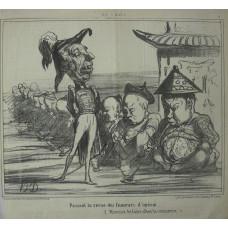 En Chine No. 3. 'Passant la revue des fumeurs d'opium. (Histoire de faire aller le commerce)' Officer walking past a line of opium smokers.