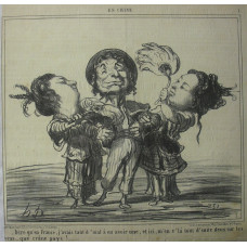 En Chine No.  8 (numbered 1) 'Dire qu-en France, j'avais tant d'mal a en avoir une, et ici, m'en v'la tout d'suite deux sur les bras . . . que crane pays' Sailor with two Chinese women on his arms
