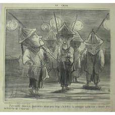 En Chine No.  8 'Patrouille chinoise, guerriers ayant pris trop a la lettre la consigne qu'on leur a donnee d'ecl la marche de l'ennemi'. Chinese soldiers with lanterns.