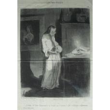 Les Bas-Bleus No. 15 'Femme de lettre humanitaire se livrant sur l'homme a des reflexions cranement philosophiques!' Woman peering at skull she is holding.