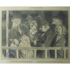 Les Bons Parisiens. No. 1 'Des Parisiens dans l'attente du plasir - Deux heures de queue a un theatre quelconque.' Queue for theatre.
