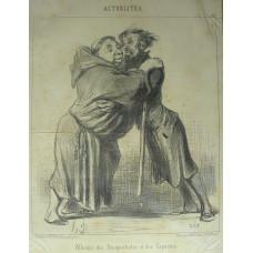 Actualites No. 99. 'Alliance des Bonapartistes et des Capucins' Monk and another man propping up each other.