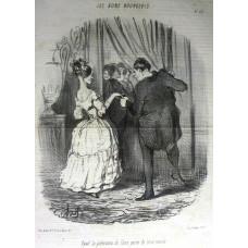Les Bons Bourgeois. No. 57 'Ayant la pretention de faire partie du beau monde' Man accompanying woman to party.