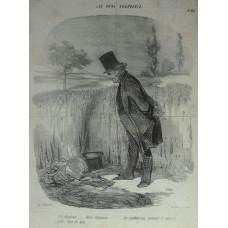 Les Bons Bourgeois. No. 34 'Un Chapeau . . . deux chapeaux les malheureux seraient ils alles se suicider dans les bles!' Man looks at two hats abandoned on edge of wheat field.