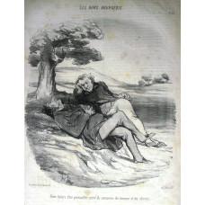 Les Bons Bourgeois. No. 79 'Doux loisirs d'un quincailler retire du commerce des hommes et des chenets.' Two men lounging on a bank