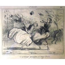 Actualites No. 307. 'Le printemps annoncant son retour a Paris' Two women in a gale.