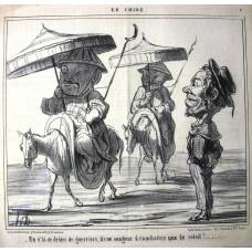 En Chine No. 2. 'En v'la de droles de guerriers, ils ne songent a combattre que le soleil!' Two Chinamen riding horses holding parasols.