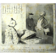 Voyage en Chine No.  2 'Le Passe-Port'. Official comparing description with man standing by counter.