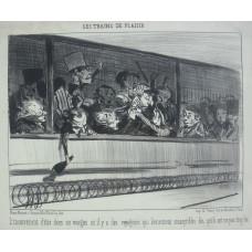 Les Trains de Plaisir. No. 5 'L'inconvenient d'etre dans un wagon ou il y a des voyageurs qui deviennent susceptibles des qu'ils ont un peu trop bu.' Confrontation in railway carriage.