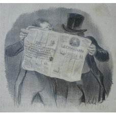 [Actualites No.13. Oh elle est Oh elle est delicieuse. . . ].'Two men looking at Le Charivari, with a note advising subscribers to renew their subscription'.