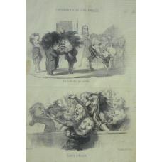 Physionomie de l'Assemblee. No. 4 'La salle des pas perdus. Seance Ordinaire. Two cartoons of the Assembly on sheet.