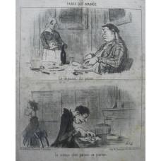 Paris Qui Mange. No. 1 'Le dejeuner du patron. Le sixieme clerc prenant sa pitance salle des pas perdus. Two cartoons on sheet.