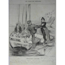 Les Canotiers Parisiens. No. 15. 'Embarquement d'une Dame' Woman getting into rowing boat, boatmen holding oars vertically.
