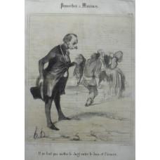 Proverbes et Maximes. No. 10. 'Il ne faut pas mettre le doigt entre le bois et l'ecorce.' Man has received a bloody nose for intervening as a man beats up his wife.