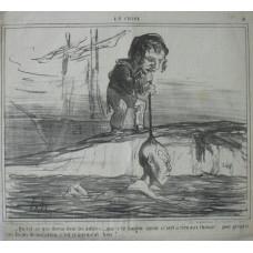 En Chine No. 3. 'Qu est-ce qui disent donc les autres . . . que c'te longue queue n'sert a rien aux Chinois! . . . pour prendre une lecon de natation, c'est cranement bon!' Sailor holding Chinaman by pigtail as he learns to swim.